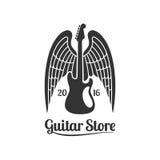 Logo de calibre de vecteur de magasin de guitare Illustration Libre de Droits