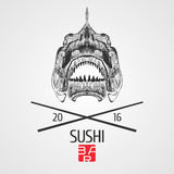 Logo de calibre de vecteur de sushi, icône, symbole Photo libre de droits