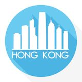 Logo de calibre de silhouette de ville d'Art Flat Shadow Design Skyline de vecteur d'icône de Hong Kong China Asia Round illustration stock