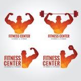 Logo de centre de fitness (la force musculaire et l'haltérophilie des hommes) Photos libres de droits