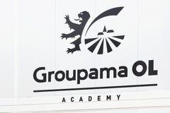 Logo de centre de formation pour la jeune académie du club du football d'Olympique Lyonnais Photos stock