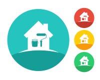 Logo de cercle avec des outils de maison et de peinture Photo stock