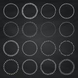 Logo de cercle de dessin de craie et ensemble d'éléments d'insigne Illustration Stock