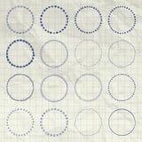Logo de cercle de vecteur et ensemble d'éléments tirés par la main d'insigne Image stock