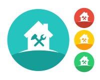 Logo de Chambre avec des outils de travail Photographie stock libre de droits