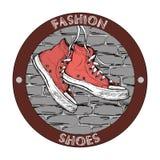 Logo de chaussure en caoutchouc de hippie Calibre grunge de conception de vecteur Icône de chaussure illustration de vecteur