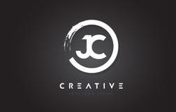 Logo de circulaire de JC avec la conception et le noir Backg de brosse de cercle illustration de vecteur
