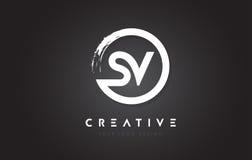Logo de circulaire du SV avec la conception et le noir Backg de brosse de cercle illustration libre de droits