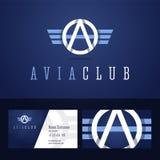 Logo de club d'Avia et calibre de carte de visite professionnelle de visite Photos stock
