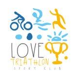 Logo de club de sport de triathlon d'amour Illustration tirée par la main colorée Photos stock