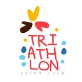 Logo de club de sport de triathlon Illustration tirée par la main colorée Photos stock