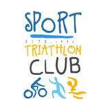 Logo de club de triathlon de sport Illustration tirée par la main colorée Images libres de droits