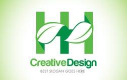 Logo de conception de HH Green Leaf Letter Bio icône Illus de lettre de feuille d'Eco Photographie stock libre de droits