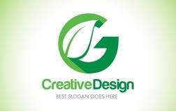 Logo de conception de lettre de feuille de vert de G Bio icône Illust de lettre de feuille d'Eco illustration libre de droits