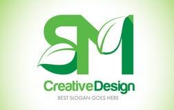 Logo de conception de lettre de feuille de vert de SM Bio icône Illus de lettre de feuille d'Eco illustration de vecteur