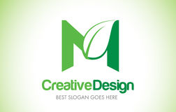 Logo de conception de M Green Leaf Letter Bio icône Illust de lettre de feuille d'Eco Illustration Stock