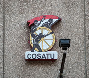 Logo de Cosatu sur un mur Photo stock