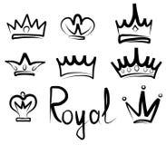 Logo de couronnes et collection tirés par la main d'icône Photos stock