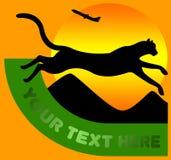 Logo de course avec le chat illustration de vecteur