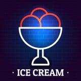 Logo de crème glacée, style plat illustration stock
