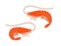 Logo de crevette Crevette d'isolement sur le fond blanc Crevettes roses Image libre de droits