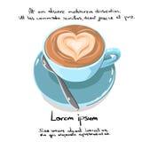 Logo de croquis d'aspiration de main de forme de coeur de tasse de café illustration de vecteur