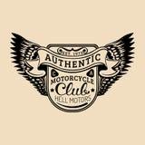 Logo de cycliste avec l'illustration d'ailes Signe de MC Label fait sur commande de garage Emblème de magasin de moto de vintage  Photos stock