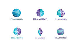 Logo de diamant, écrasant le modèle abstrait Logotype coloré de pierre précieuse images libres de droits
