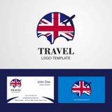 Logo de drapeau du Royaume-Uni de voyage et design de carte de visite illustration stock