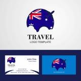 Logo de drapeau de l'Australie de voyage et design de carte de visite illustration de vecteur