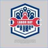 Logo de Fête du travail et illustration de vecteur de bannière Images libres de droits