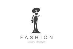 Logo de femme élégante de mode Icône négative de bijoux de l'espace de Madame Photo stock