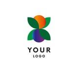 Logo de feuille avec des baies et des fruits de couleur illustration stock