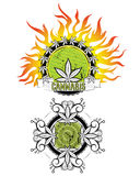 Logo de feuilles de marijuana et de mauvaise herbe Photos stock