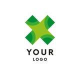 Logo de fileur dans la croix verte logo simple Vecteur illustration libre de droits