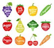 Logo de fruits et légumes, icônes de fruits et légumes et Desi illustration libre de droits