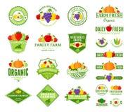 Logo de fruits et légumes, labels, icônes de fruits et légumes illustration de vecteur