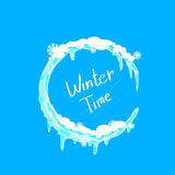 Logo de glace et de neige de cercle de Noël d'horaire d'hiver Illustration Stock