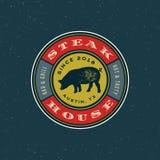 Logo de grill de vintage rétro emblème dénommé de restaurant de gril Illustration de vecteur illustration stock