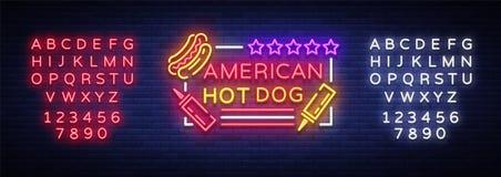 Logo de hot-dog dans le calibre au néon de conception de style Enseignes au néon de hot-dog, bannière légère, emblème au néon d'a Photographie stock