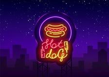 Logo de hot-dog dans le calibre au néon de conception de style Enseignes au néon de hot-dog, bannière légère, emblème au néon d'a Image libre de droits