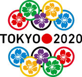 Logo 2020 de Jeux Olympiques de Tokyo Photographie stock libre de droits