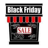 Logo de jour de vente de Black Friday Icône de magasin avec une vente Étalage dans le noir avec la vente de mots au centre et aux image libre de droits