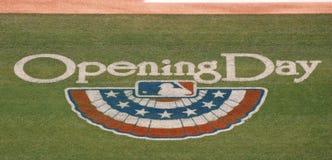 Logo de journée 'portes ouvertes' de la Ligue Majeure de Baseball Images libres de droits