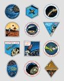 Logo de l'espace Exploration de la galaxie astronomique Mission Mars Aventure d'astronaute ou d'astronaute Planètes et illustration stock