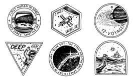 Logo de l'espace de vintage Exploration de la galaxie astronomique astronaute ou astronaute de mission aventure de cosmonaute pla illustration libre de droits