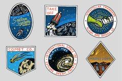 Logo de l'espace de vintage Exploration de la galaxie astronomique astronaute ou astronaute de mission aventure de cosmonaute pla illustration de vecteur