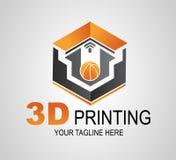 Logo de l'impression 3D ou signe créatif, icône Boule moderne d'impression de l'imprimante 3D Fabrication additive