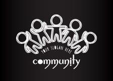 Logo de la Communauté Logo social de personnes de media de réseau Blanc beaucoup de silhouettes décrites des personnes sur le fon Image stock