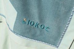 Logo de la compagnie Ioukos sur une couverture photographie stock